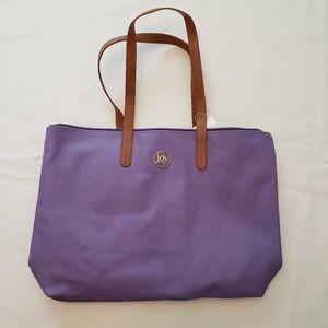 NWT Joy Mangano Leather Tote. Purple